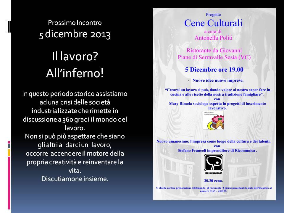 Cena culturale del 5 dicembre