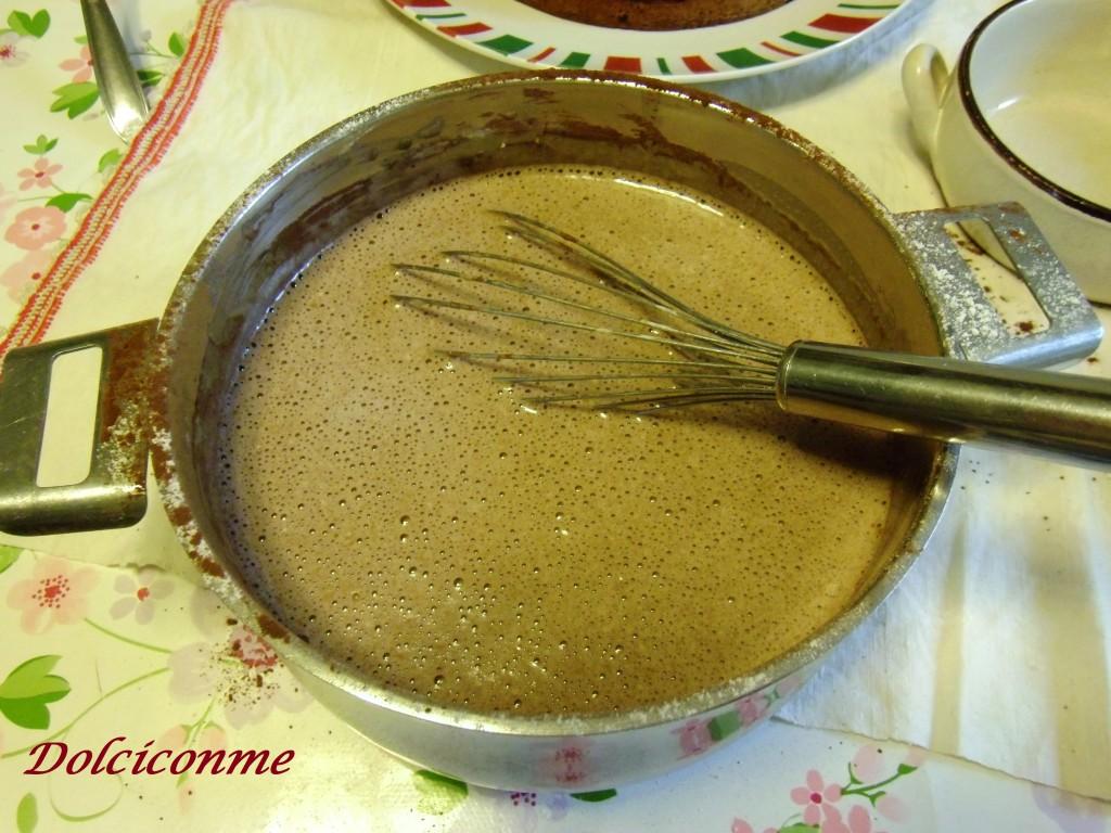 Preparazione crema pasticceria al cacao