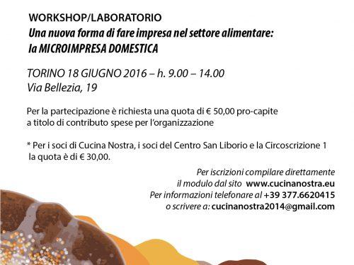 Workshop a Torino il 18 giugno 2016